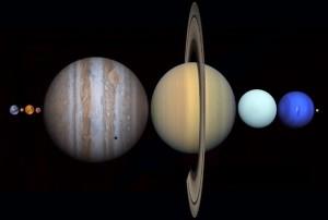 Distancia entre la tierra y la luna, aquí podemos ver como los demás planetas juntos pueden caber entre estos dos objetos, sin duda nos da una idea de las impresionantes distancias que tiene el universo.  Créditos: gizmodo.com